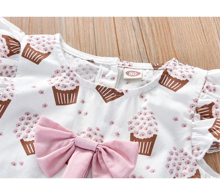 Ha4e36e6893874d0d9701492896add8c5b Humor Bear Girls Clothing Set 2020 Korean Summer New Ice Cream Bow T-shirt+Pants Kids Suit Toddler Baby Children's Clothes