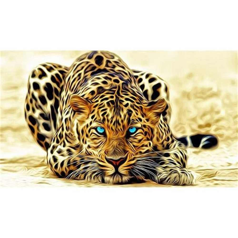 5D DIY Diamond Lukisan Leopard Persegi/Bulat Bor Mosic Diamond Bordir Melihat Panther Cross Stitch Dekorasi Rumah Hadiah