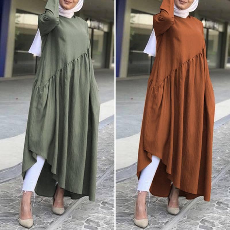 Women's Autumn Sundress Fashion Asymmetrical Dress ZANZEA 2020 Casual Muslim Abaya Robe Dress Female Long Sleeve Maxi Vestidos