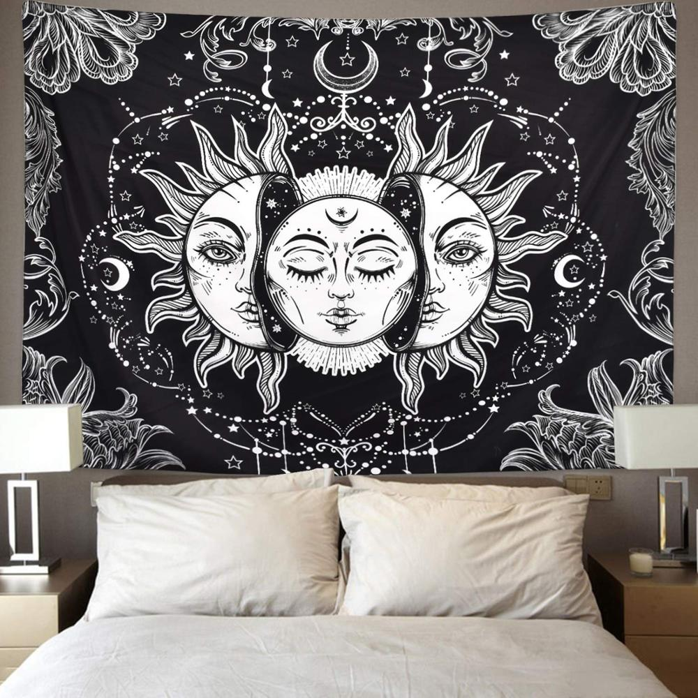 Lannidaa Psychedelic Sun Moon God Tapestry Wall Hanging Backdrop Decor Hippie Tapestry Wall Carpet Thin Bedspread
