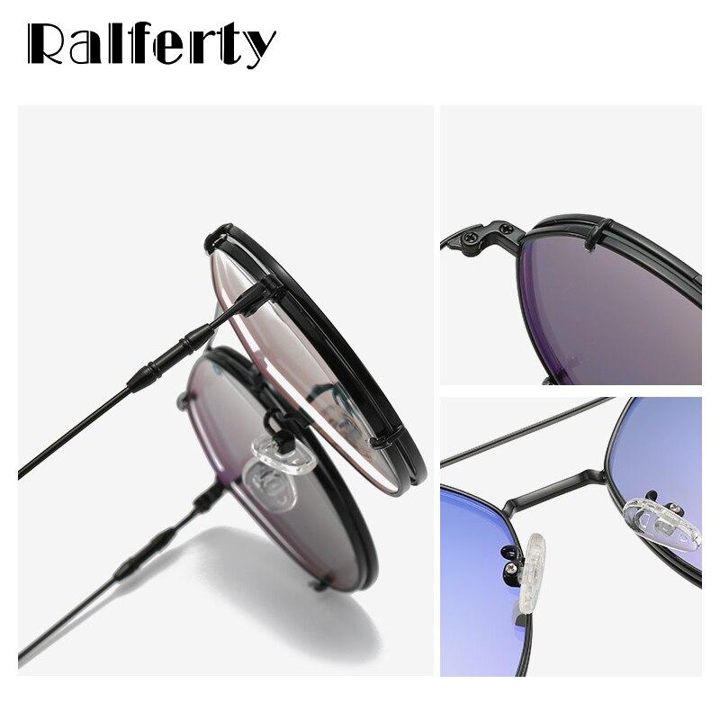 Ralferty 2 في 1 وصفة النظارات الشمسية قصر النظر السيدات الإطار المعدني كليب على نظارات نظارات شمسية للنظارات 0 درجة Z1786