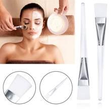 Elecool pincel facial de tratamento facial, 1 peça, ferramenta de maquiagem para tratamento de rosto, escova aplicadora de máscara de lama, com alça de plástico transparente para mulheres cuidados com a pele