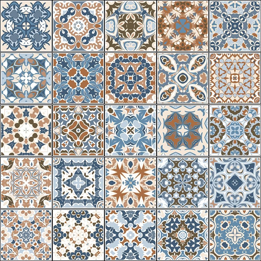 10/15/20cm padrão retro telha piso da escada adesivo do banheiro decoração da cozinha adesivo de parede à prova dwaterproof água casca & vara arte papel de parede