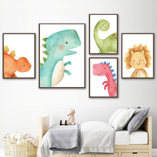 Cute Dinosaur Triceratops Cartoon Wall Art Print Canvas Painting Nordic Posters And Prints Pictures Baby Kids Room