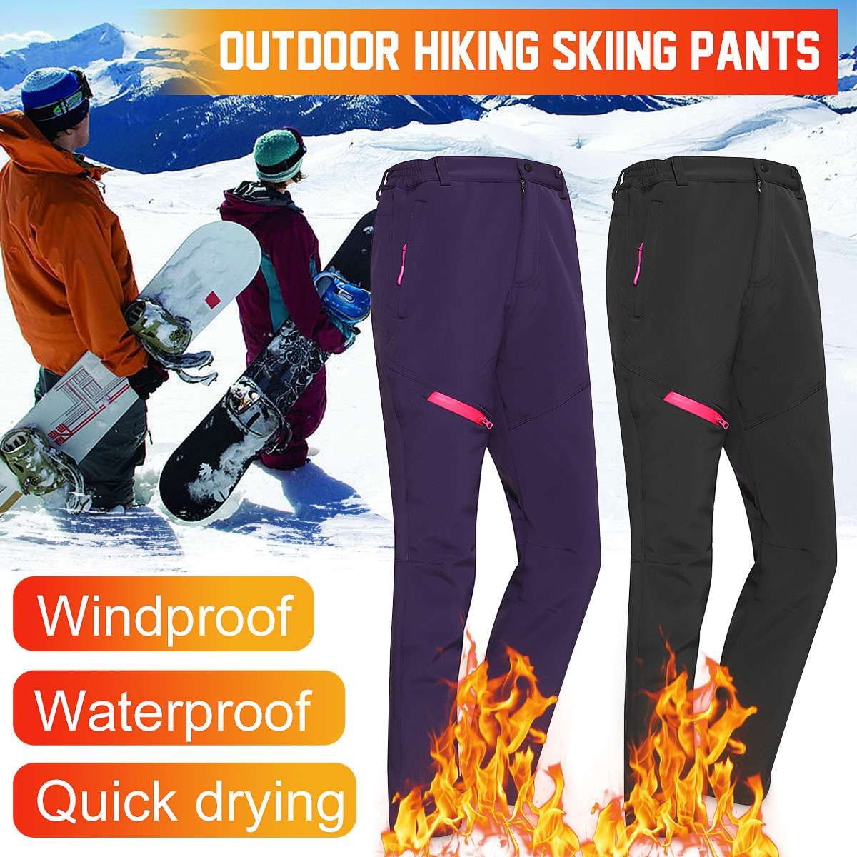 Soft Warm Pants Winter Trousers Hiking Sport Trekking Climbing Waterproof Pants Plus Velvet For Men Women Skiing Outdoor Sport