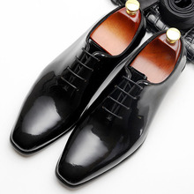 Fashion Mens Genuine Leather Shoes Patent Leather Men's Dress Shoes Business Wedding Shoes Oxfords Lace Up Black Flats plus size 34 43 genuine leather women shoes fashion leisure spring pointy bling rhinestone flats shoes patent leather crystal