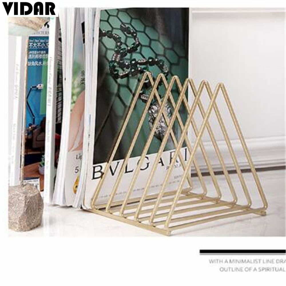 VIDAR Nordic Style Ornaments Triangle Rose Gold Book Stand Metal Telescopic Folding Bookshelf Magazine Rack