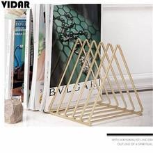 VIDAR Nordic Style Ornaments Triangle Rose Gold Book Stand Metal Telescopic Folding Bookshelf Magazine Rack