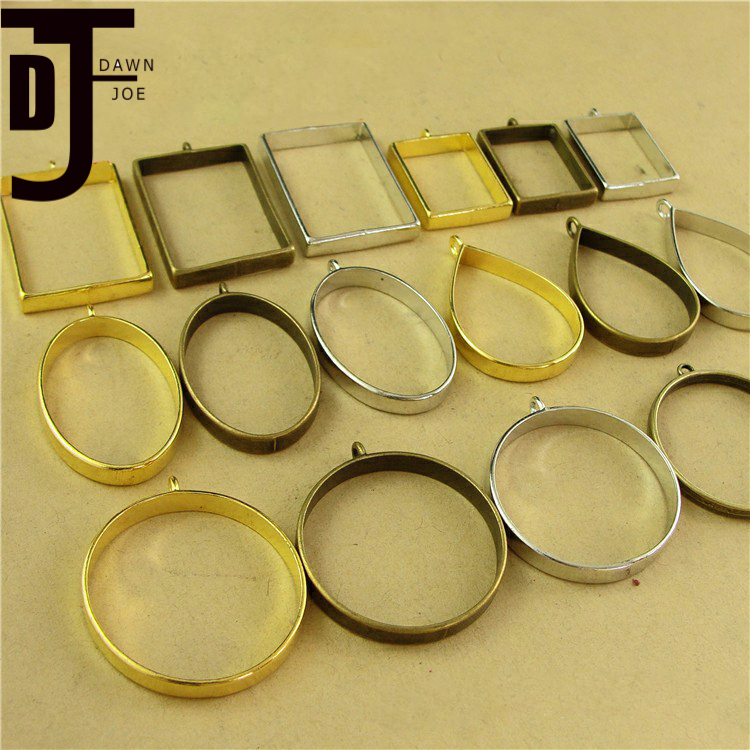 10pcs/lot Vintage Charm Epoxy Metal Frame Photo Frame Blank Pendant Base DIY Making Necklace Pendant Jewelry Supplies Finding