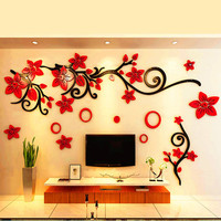 2 Size Multi Pieces Red Flower Pattern 3D Acrylic Decoration Wall Sticker DIY Wall Poster Wedding Home Decor Bedroom Wallstick