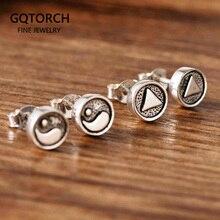 925 Sterling Silver Earrings Symbol Yin Yang Triangle Minimalist Elegance Stud Earrings For