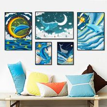 Watercolor Whale Sea Moon Star Cloud Cartoon Nordic Posters And Prints Wall Art Canvas Painting Pictures For Baby Kids Room