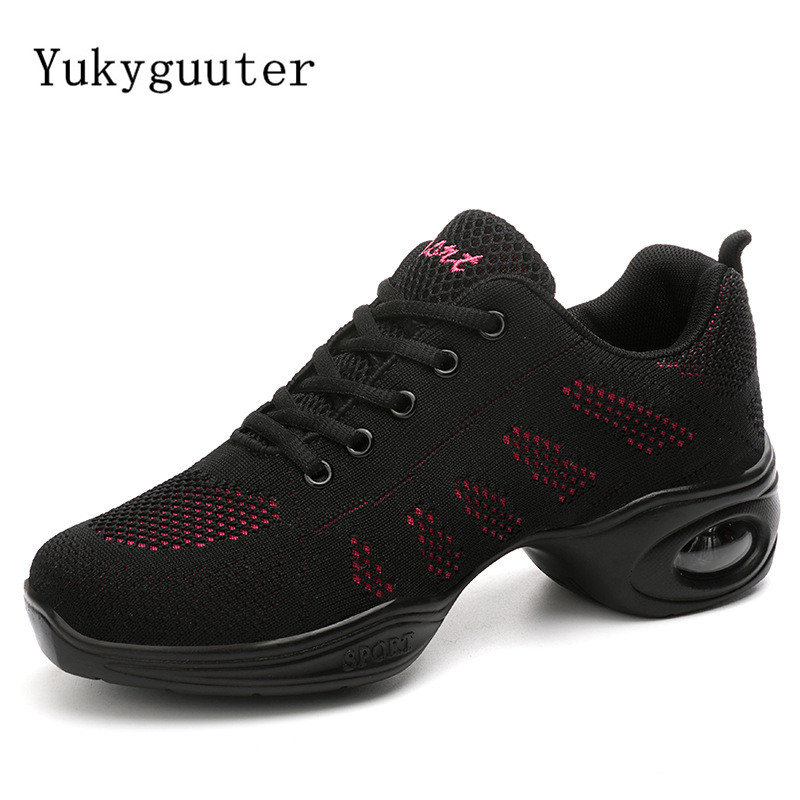 Dance Shoes Woman Ladies Modern Soft Outsole Jazz Sneakers Mesh Breathable Lightweight Female Dancing Fitness Shoes Sport