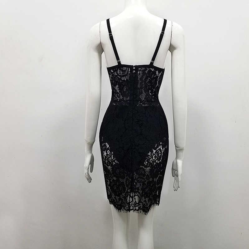 באיכות גבוהה שחור ללא שרוולים 2 חתיכות סט תחרה סלבריטאים ריון תחבושת שמלת Bodycon מפלגה שמלה