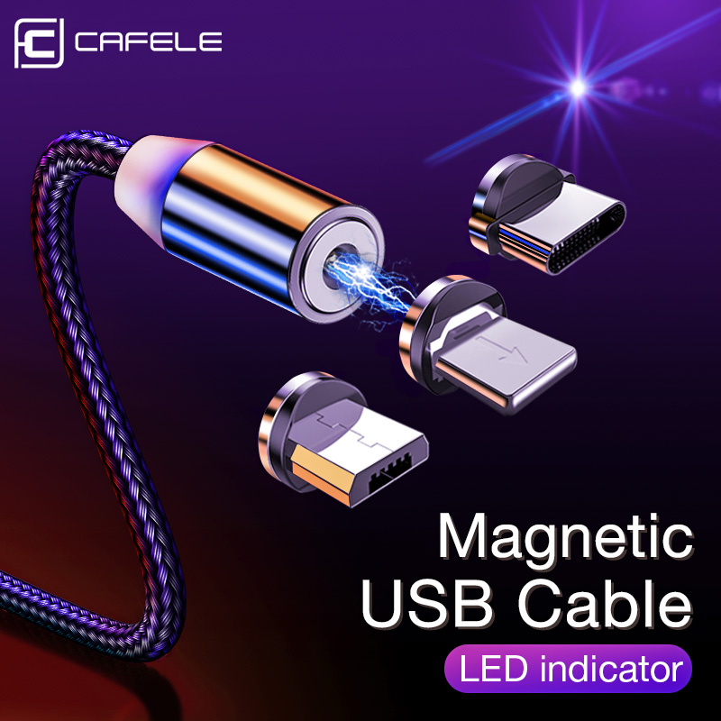 CAFELE Magnetic Type C USB Micro Cable for iPhone X XS Max Xr 8 7 6 6s LED Charging USB Cable Wire Charger 100 200CM|Mobile Phone Cables|   - AliExpress
