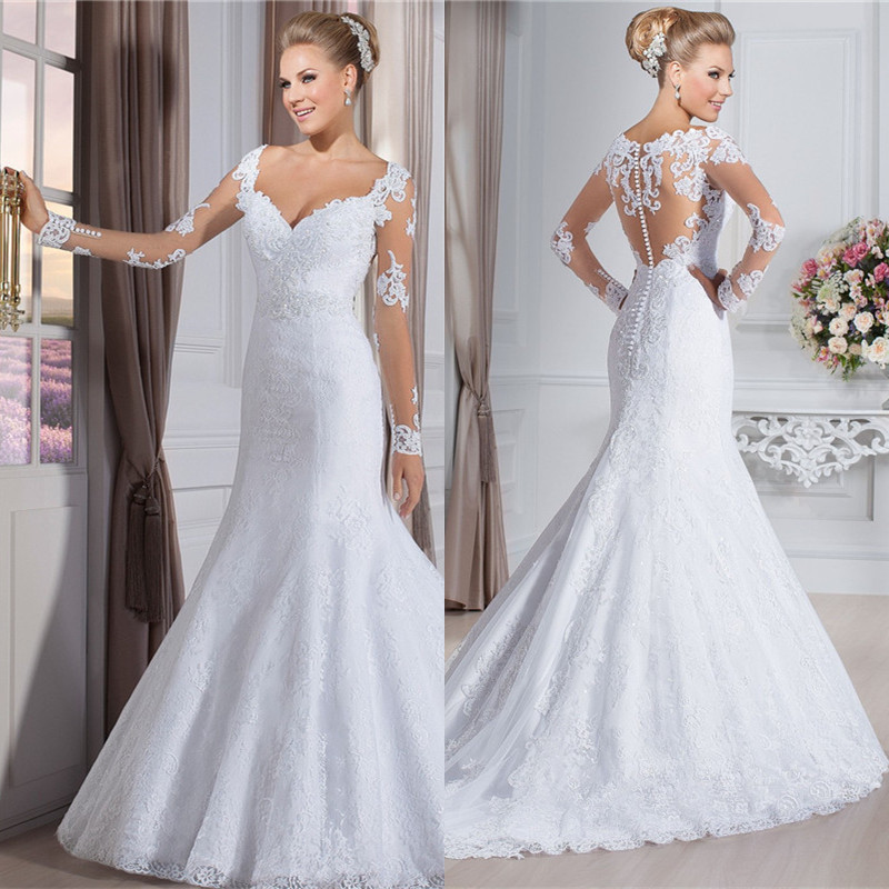 Hot Sale Sweetheart Long Sleeves See Through Back Zipper Button Beaded Appliqued Lace Mermaid Wedding Dresses IZ27
