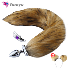 2018 New Cosplay Fox Tail Ears Set  No Vibrator Metal Anal Plug Deformable Butt for Couples Flirting