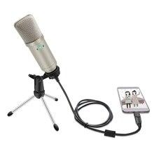 Конденсаторный микрофон USB, Студийный микрофон для караоке, запись в реальном времени
