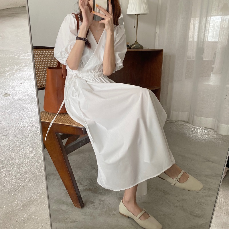 Women Summer Sexy V Neck White Long Wrap Dress Slim High Waist Vintage Puff Sleeve Bandage Sundress French Style