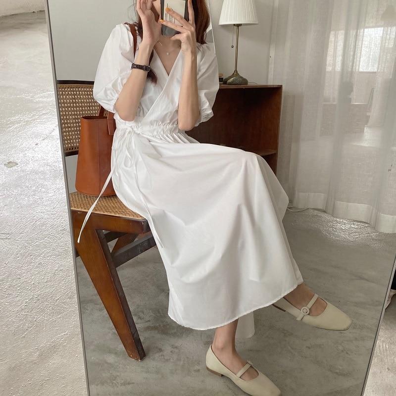 Women Summer Sexy V Neck White Long Wrap Dress Slim High Waist Vintage Puff Sleeve Bandage Sundress French Style