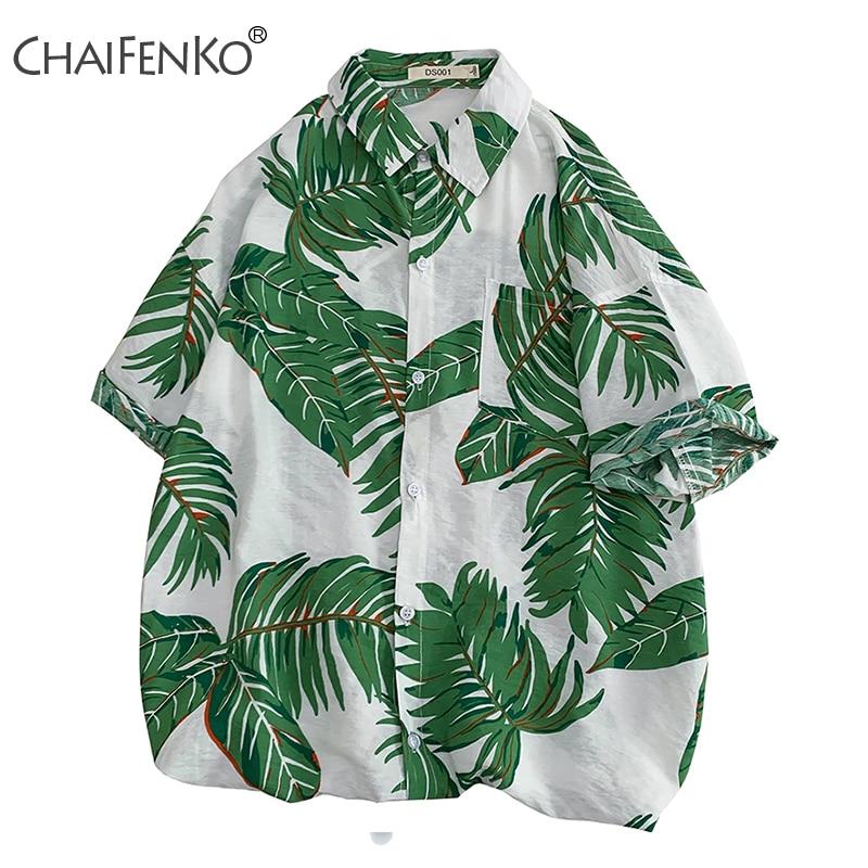 CHAIFENKO 2020 New Hot Summer Holiday Fashion Floral Short Sleeve Shirts Men Beach Hawaiian Leisure Loose Men Blouse Plus Size
