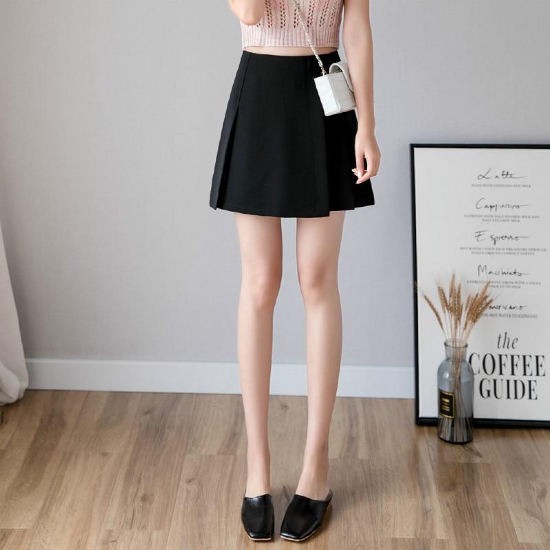 New Pleated Women Mini Skirt Casual High Waist A-line Female Short Skirt Korean Preppy Style Cute Pink Skirts 3