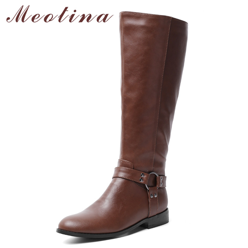 Women Boots Tall-Shoes Winter Round-Toe Autumn Plus-Size 34-43 Zipper Meotina PU Flat-Knee