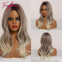 TINY LANA Medium Wavy Synthetic Hair Wigs Ombre Black Brown Gray Blonde for African American Women Middle Part Cosplay Wigs