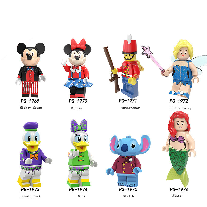Disney Legoed Stitch Donald Duck Mickey Minnie Minifigured Woody Jessie Toy Aliens Buzz Lightyear Building Blocks Toy For Kids