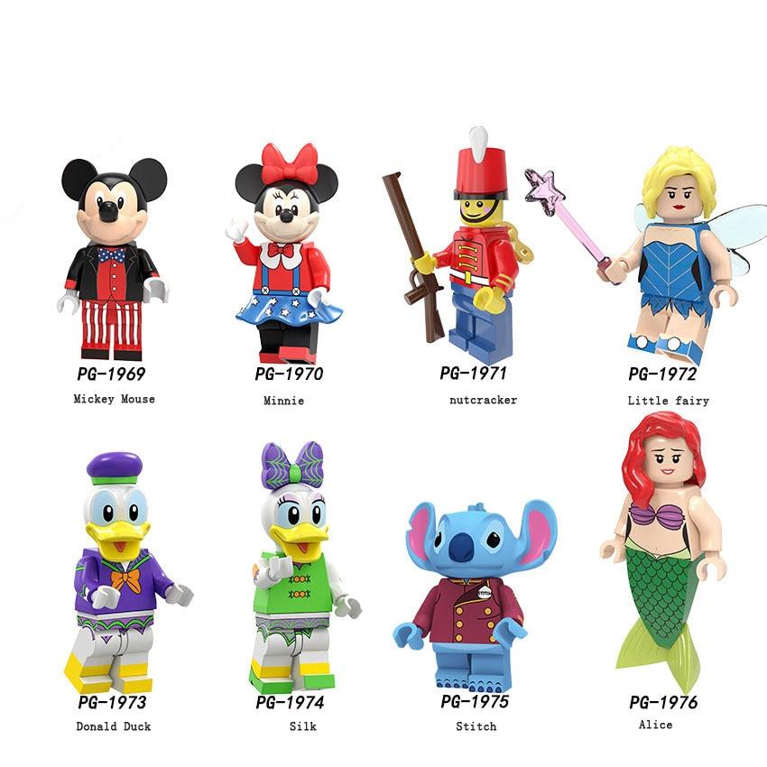 Disney Legoed Stitch Donald Duck Mickey Minnie Minifigured Woody Jessie Toy Aliens Buzz Lightyear Building Blocks Toy For Kids