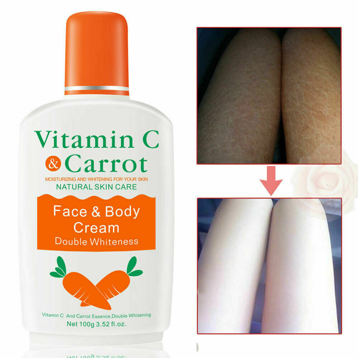 Vitamin C Carrot Bleaching Face Body Cream Skin Whitening Moisturizing Body Lotion Skin Lightening Cream Anti-Dry 2019 New 100g