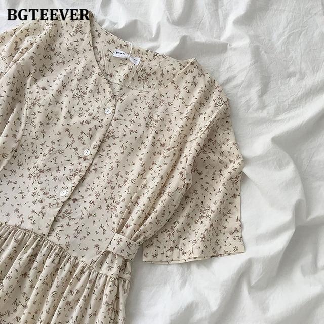 Vintage Floral Print Dress V-neck Lace-up  Elegant  5