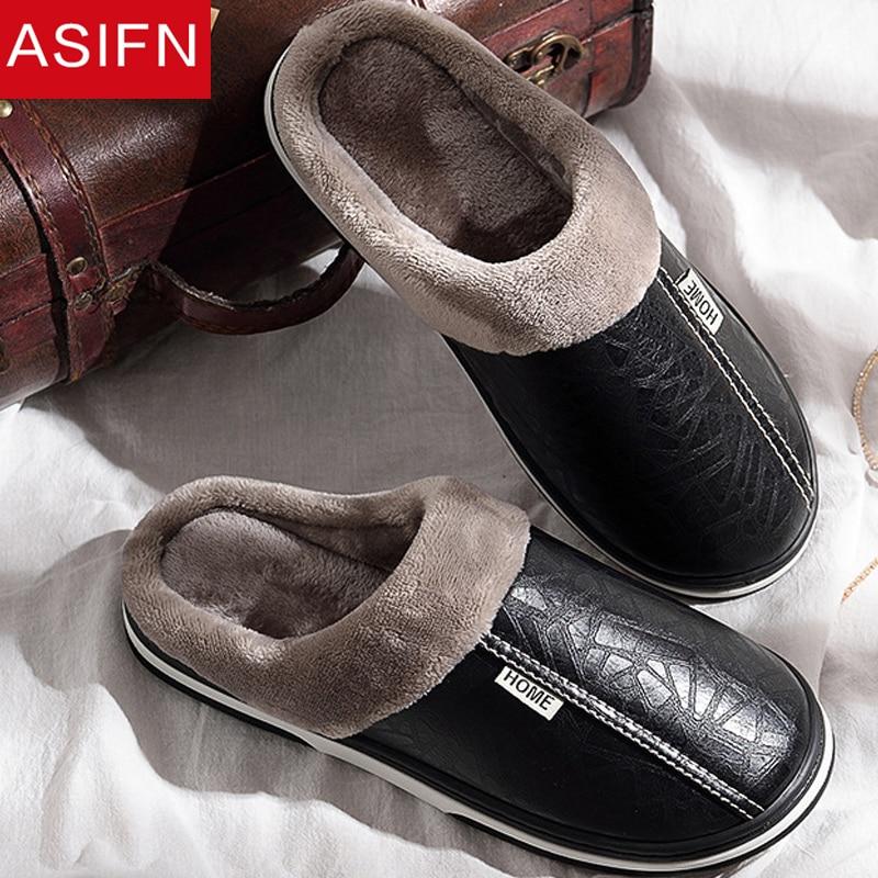 ASIFN Men's Slippers Winter Slippers Non Slip Indoor Shoes Men Leather Big Size House Shoe Waterproof Warm Memory Foam Slipper
