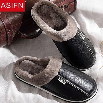 ASIFN zapatillas de hombre zapatillas de invierno zapatos de interior antideslizantes de cuero para Hombre Zapatos de Casa de gran tamaño impermeable caliente zapatilla con espuma viscoelástica