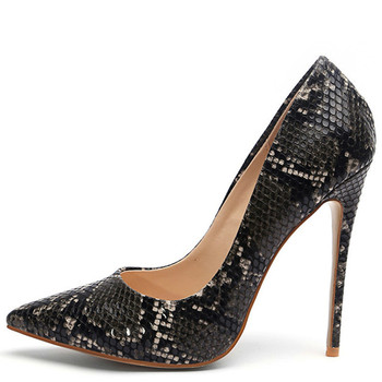 YECHNE Snakeskin Woman High heels Shoes Women Hooks Brides Black White Party Plus Size Pumps Game Stiletto