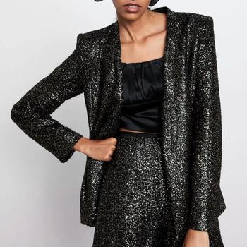 ZA suits women two piece set sequined shiny bright blazer&sequined shorts high waist female woman party club clothes 3