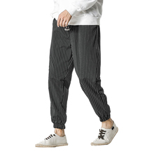 New personalized men's casual trousers retro stripe casual trousers men's feet comfortable breathable retro trousers