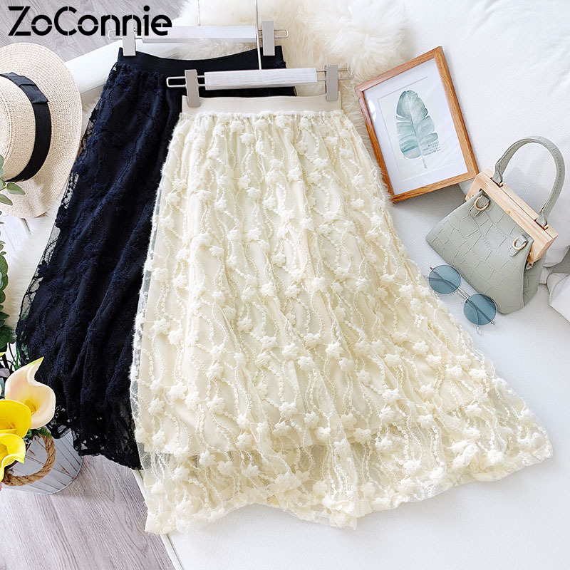 Women Skirts 2020 Spring Summer Lace Tulle Hook Flower Hollow Out Midi Skirt Ladies Elegant High Waist A-Line Skirt Jupe Longue