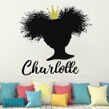 Custom Name Wall Decals Beautiful African Woman Decal Girl Sticker Beauty Salon Hairdressing Art home decor HQ121