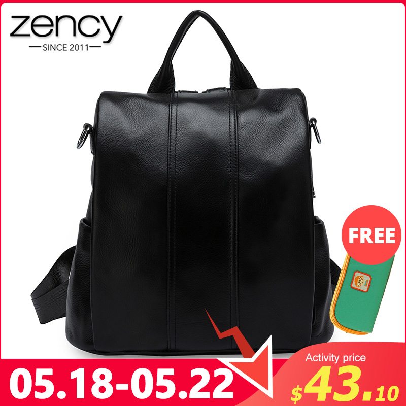 Zency Anti-theft Women Backpack 100% Genuine Leather Classic Black Daily Casual Travel Bag High Quality Lady Knapsack Schoolbags