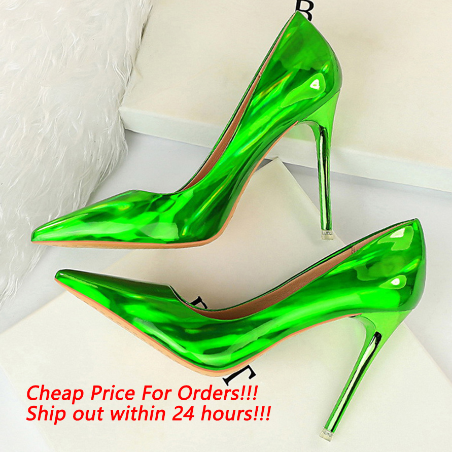 2020 Women Fetish Women 10.5cm High Heels Plus Size 43 Stripper Scarpins Glossy Pumps Stiletto Wedding Bridal Party Prom Shoes