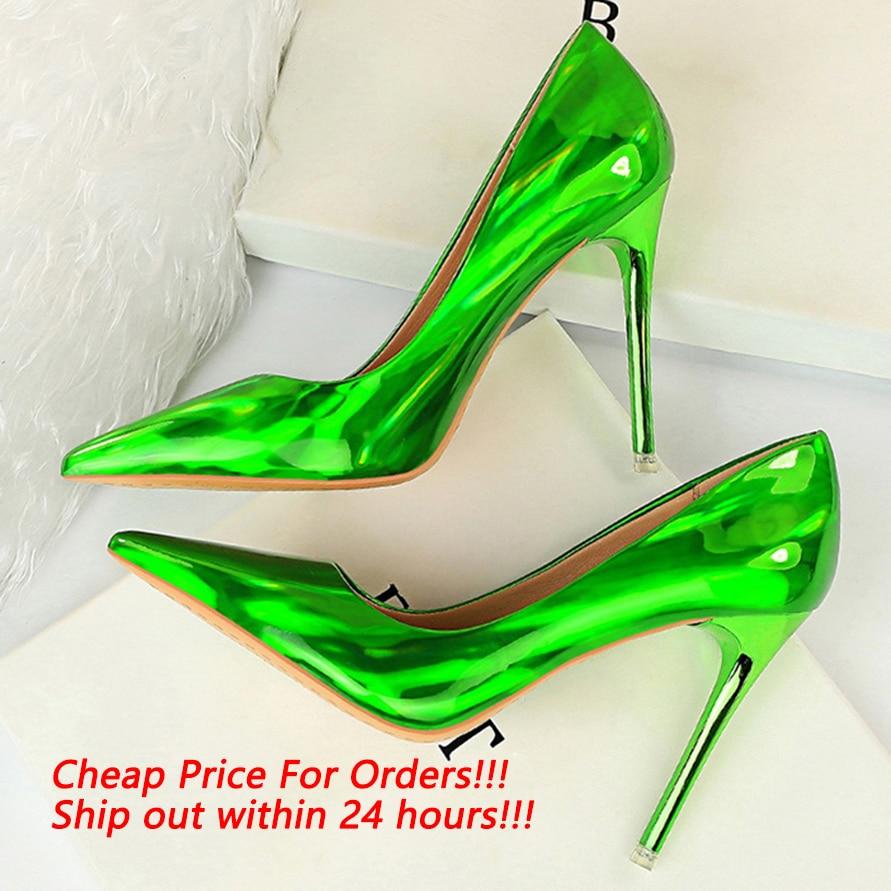 2020 Women Fetish Women 10.5cm High Heels Plus Size 43 Stripper Scarpins Glossy Pumps Stiletto Wedding Bridal Party Prom Shoes