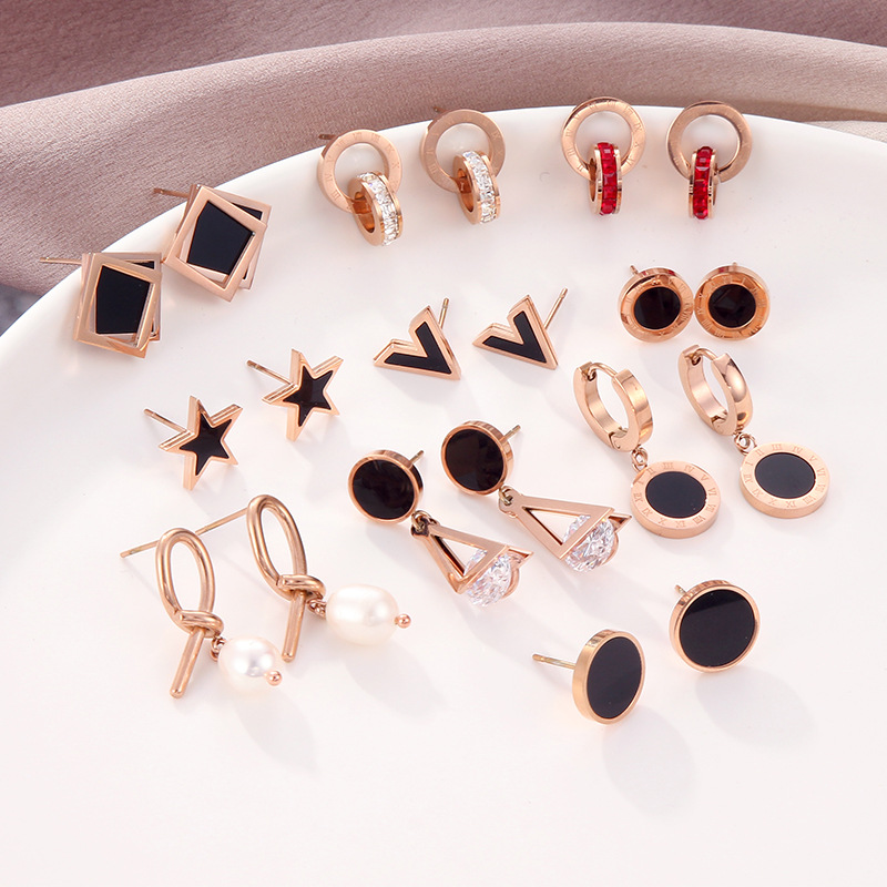 KNOCK New Tiny For Women Girl Gold  Stainless Steel  Earrings Jewelry Heart  Star Simple Charm Earring Gifts