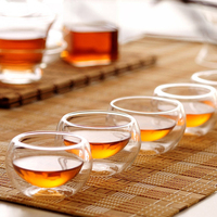 4 teile/satz große kleine Klar Handmade Hitzebeständigem Doppel Wand Glas Mini Kungfu Tee Trinken Tassen Tee Serviert Freies verschiffen|Teegeschirr-Sets|   -