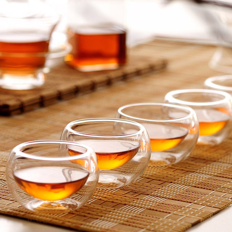 4pcs/set Large Small Clear Handmade Heat Resistant Double Wall Glass Mini Kungfu Tea Drink Cups Tea Serving Free Shipping
