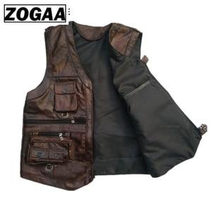Image 2 - ZOGAA Vest Heren Lederen Vest Echte Leer Motorfiets Vest Met Veel Zakken Fotografie Vest Mouwloze Jas