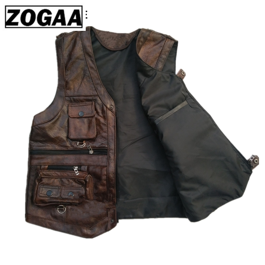 Image 2 - ZOGAA Vest Mens Leather Waistcoat Real Leather Motorcycle Vest With Many Pockets Photography Vest Sleeveless Jacket-in Vests & Waistcoats from Men's Clothing