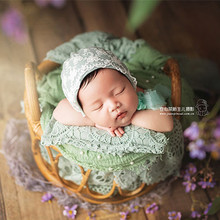 Newborn Photography Props Furniture Retro Rattan Round Basket Baby Girl Boy Posing Bed Background Photographic Woven Frame