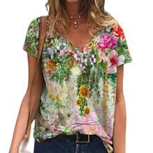 Camisetas con estampado de flores de talla grande para mujer, blusas de manga corta con cuello en V para mujer, ropa de belleza joven