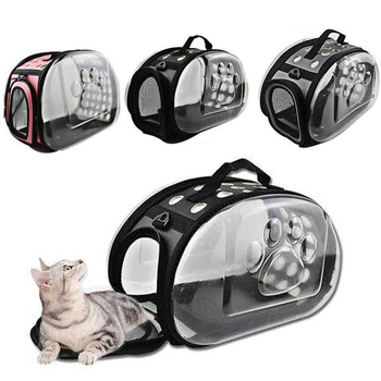 Dog Cat Carrier Bags For Dogs Cat Folding Cage Collapsible Crate Handbag Plastic Carrying Pet Carrier Bags Pets Supplies фото